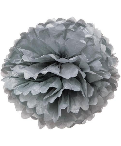 Paper Flower Pom Poms (25cm) - Grey