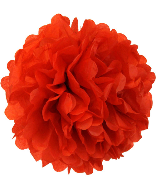 Paper Flower Pom Poms (25cm) - Red