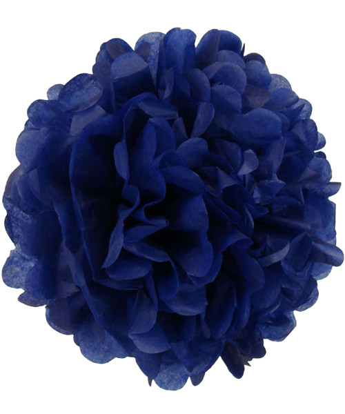 Paper Flower Pom Poms (25cm) - Royal Blue