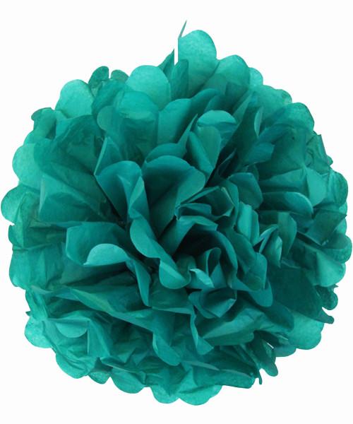 Paper Flower Pom Poms (25cm) - Dark Turquoise