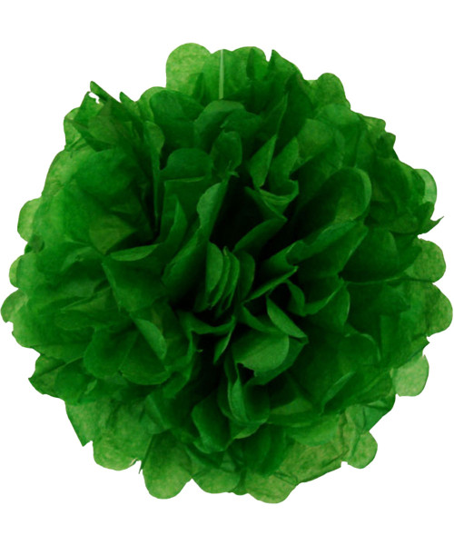 Paper Flower Pom Poms (25cm) - Dark Green