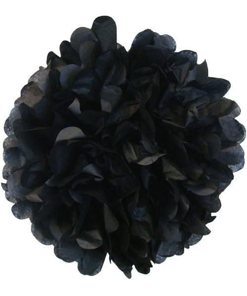 Paper Flower Pom Poms (25cm) - Black