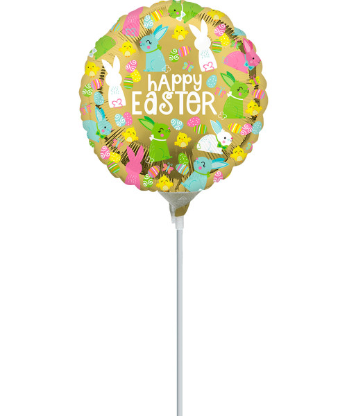 [Easter Blessings] Happy Easter Gold Foil Balloon on Stick (9inch) (A37012)