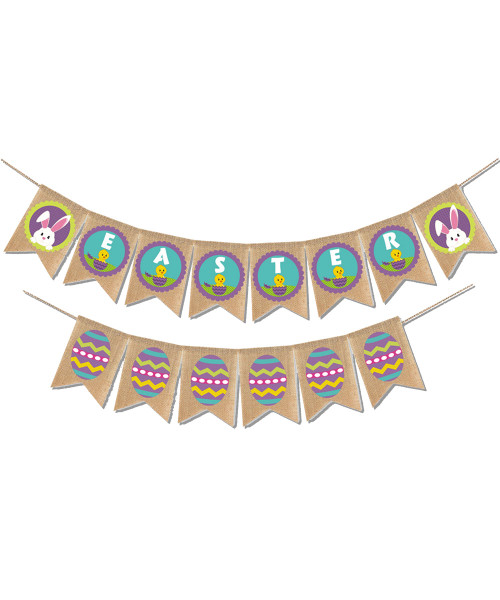 [Easter Blessings] Premium Easter Fabric Bunting (2 meter) - Hoppy Rabbits & Eggs