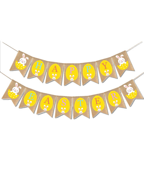 [Easter Blessings] Premium Easter Fabric Bunting (2 meter) - Crescent Eye Smile Bunnies Happy Easter