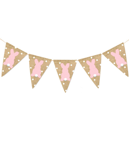 [Easter Blessings] Puffy Bunny Tails Fabric Bunting (2 meter) - Polka Dots & Pink