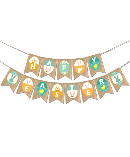 [Easter Blessings] Premium  Easter Fabric Bunting  (2 meter) - Chicks & Bunnies Happy Easter