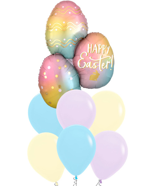 [Easter Blessings] Ombré Easter Eggs Macaron Pastel Matte Balloons Bouquet