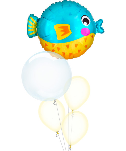 [Sea Creature] Bubbly Sea Creature Puffer Fish Blue Crystal Clearz Bubble Balloons Bouquet