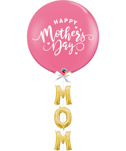 "[You're Amazing] Happy Mother's Day Jumbo Perfectly Round Latex Balloon (Rose Pink) styled with 16"" Letter Foil Balloons (MUM)"