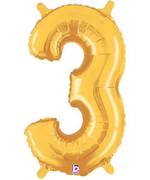 "14"" Small Number Foil Balloon (Gold) - Number '3' (B34843G)"