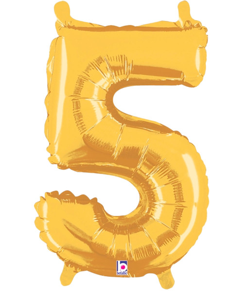 "14"" Small Number Foil Balloon (Gold) - Number '5' (B34845G)"