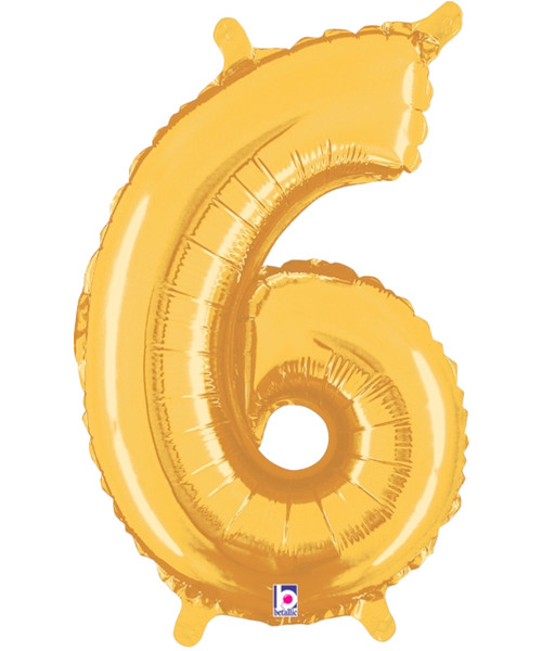 "14"" Small Number Foil Balloon (Gold) - Number '6' (B34846G)"