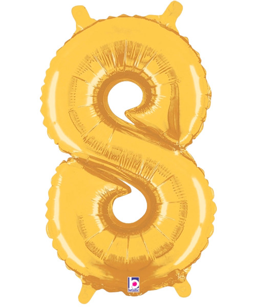 "14"" Small Number Foil Balloon (Gold) - Number '8' (B34848G)"