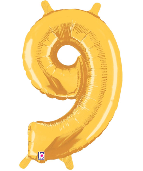 "14"" Small Number Foil Balloon (Gold) - Number '9' (B34849G)"