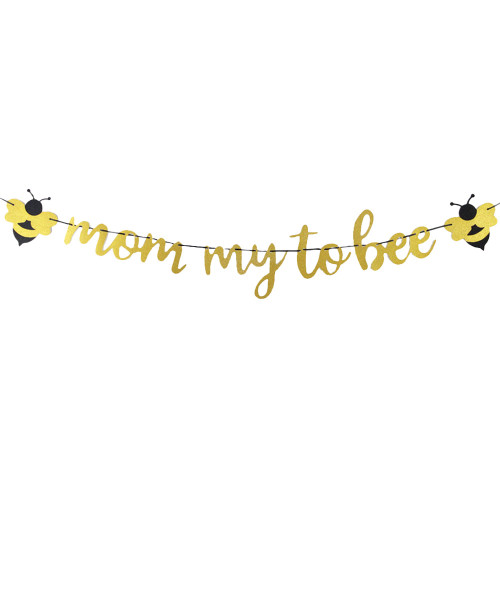 Mom-my To Bee Bunting - Glittery Gold & Black