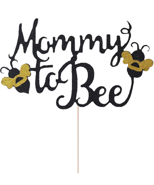 Mommy to Bee Cake Topper - Glittery Black & Gold
