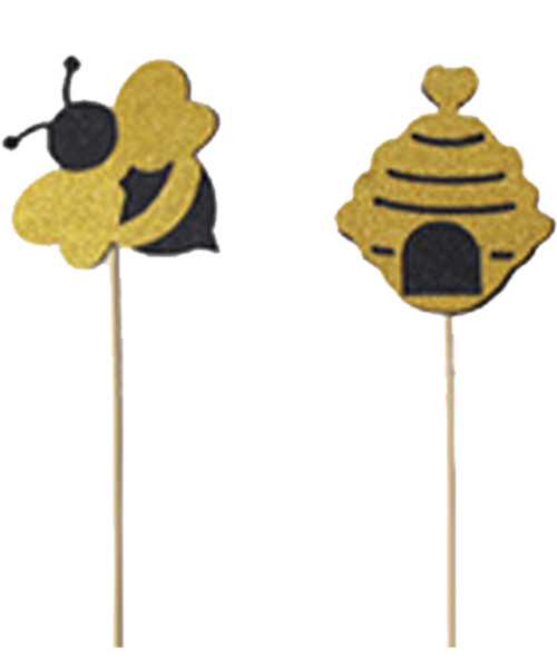 Beehives & Bees Cupcake Topper (6pcs) - Glittery Black & Gold
