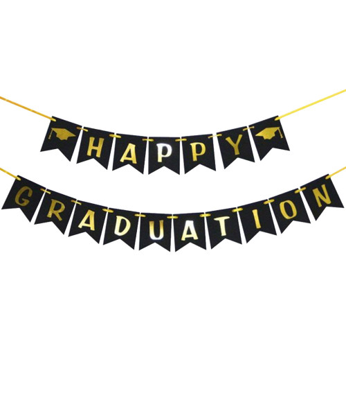 Happy Graduation Bunting (3 Meter) - Black & Gold
