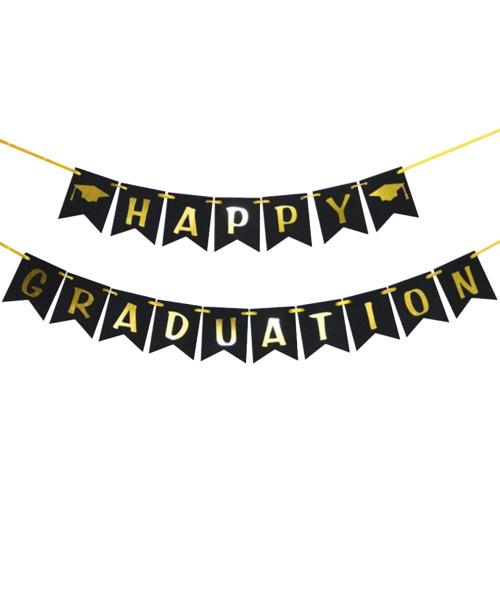 Happy Graduation Bunting (3 Meter) - Black & Gold