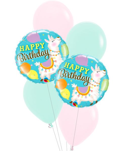 [Llama] Birthday Llama Pastel Matte Balloons Bouquet