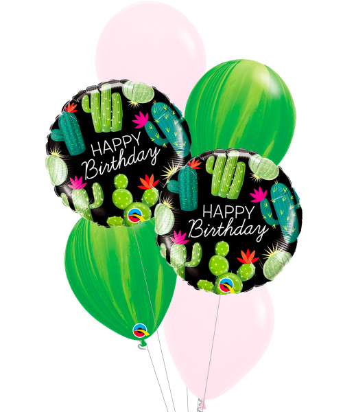 [Plant] Cacti Cactuses Happy Birthday Leaf Marble Balloons Bouquet