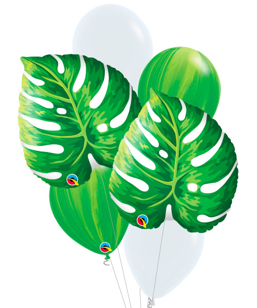 [Plant] Tropical Philodendron Leaf Marble Balloons Bouquet
