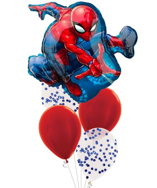 [Spider Man] Spider Man Metallic Blue Round Confetti Balloons Bouquet