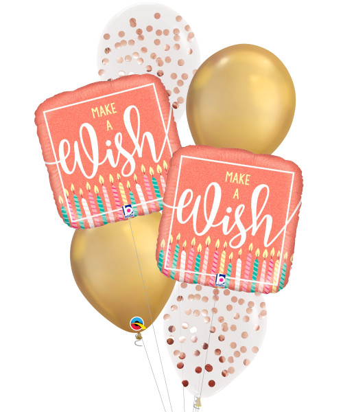 [Party] Make A Wish Rose Gold Holographic Chrome Gold Balloons Bouquet