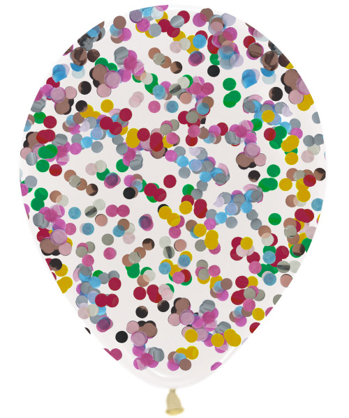 (Mix & Match) 12'' Round Confetti (1cm) Clear Latex Balloon (Choose from 26 Confetti Colors)