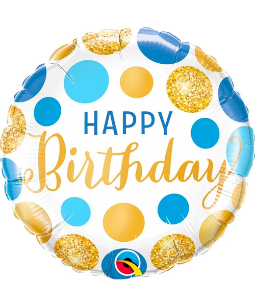 [Party] Birthday Blue & Gold Dots Foil Balloon (18inch) (Q18871)