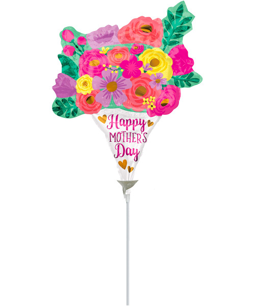 [You're Amazing] HMD Lovely Floral Bouquet Foil Balloon on Stick (12inch) (A40855)