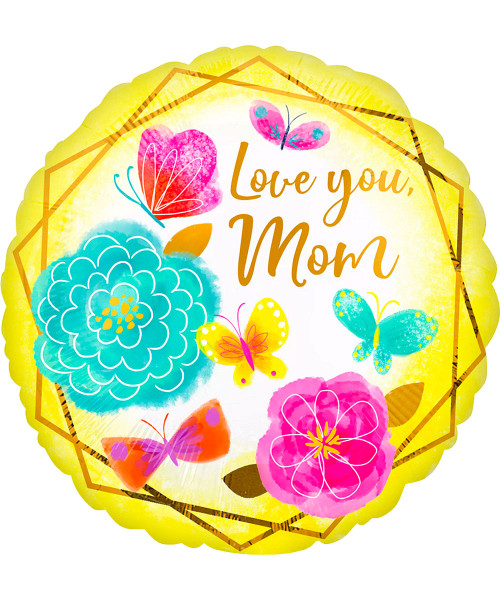 [You're Amazing] Love You Mom Gold Trim Foil Balloon (18inch) (A42728)