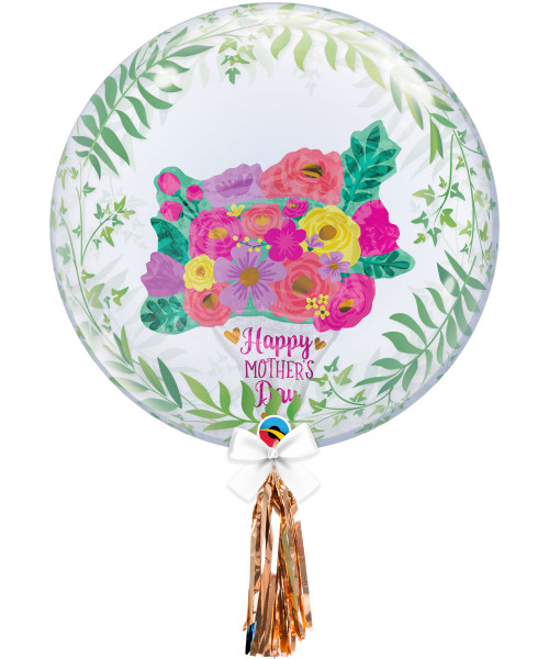 "[You're Amazing] 24"" Crystal Clear Transparent Elegant Greenery Printed Balloon - 24"" Crystal Clear Transparent Elegant Greenery Printed Crystal Ball Balloon - HMD Lovely Floral Bouquet Stuffed"