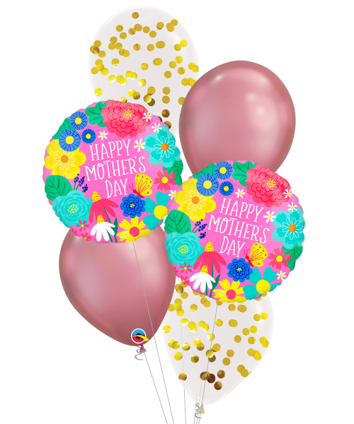[You're Amazing] Happy Mother's Day Pretty Flowers Chrome Mauve Balloons Bouquet