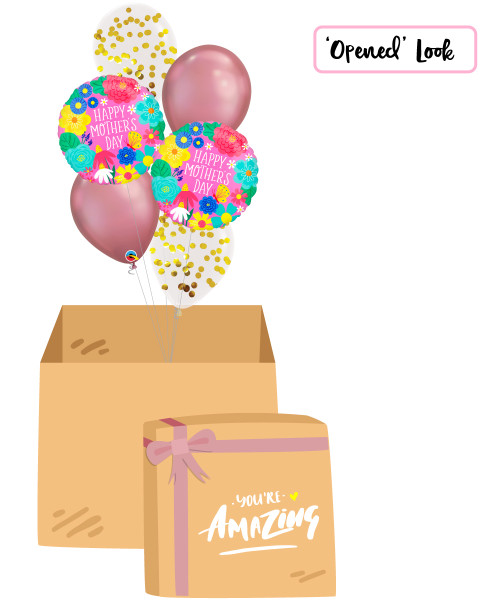 [You're Amazing Surprise Box] Happy Mother's Day Pretty Flowers Chrome Mauve Balloon Bouquet