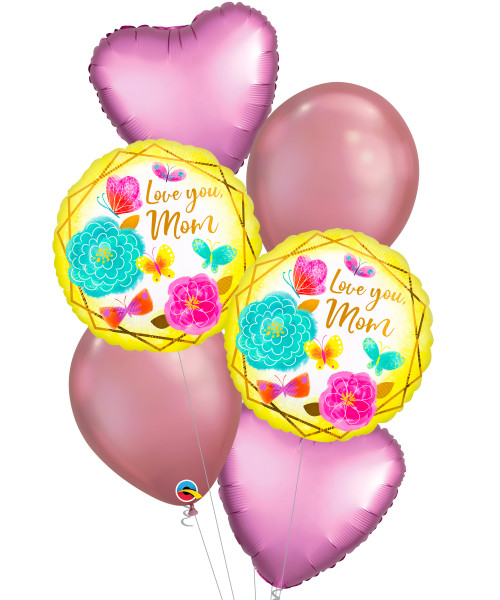 [You're Amazing] Love You Mom Gold Trim Chrome Gold Balloons Bouquet
