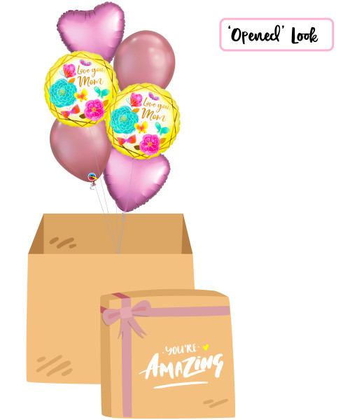 [You're Amazing Surprise Box] Love You Mom Gold Trim Chrome Gold Balloons Bouquet