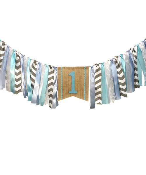 Fabric Garland (2 meter) - '1'  Ballad Blue & Glacier Grey