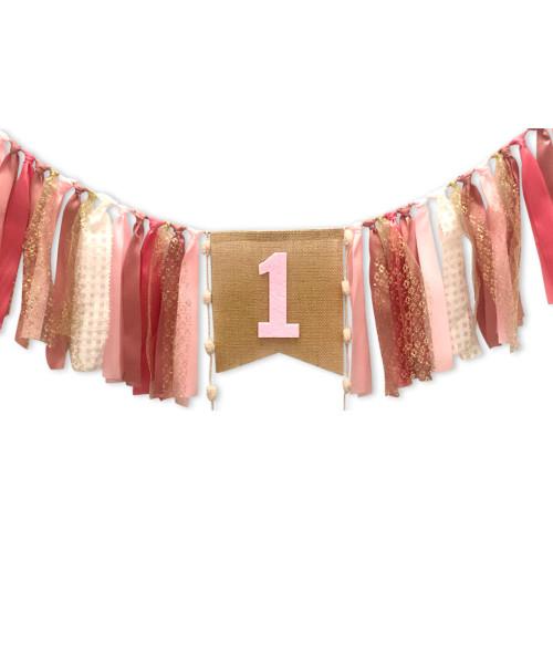 Fabric Streamer Garland (2 meter) -  '1'  Cinnamon Pink