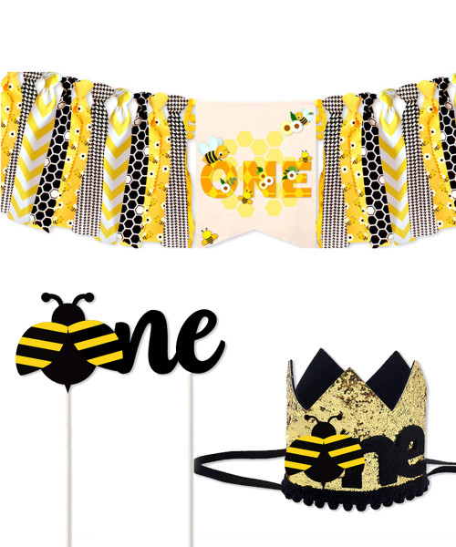 First Birthday Party Set (Party Hat  + Fabric Streamer Garland + Cake Topper) - 'one' Bumblebee