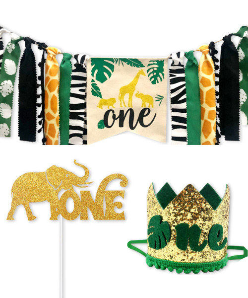 First Birthday Party Set (Party Hat  + Fabric Streamer Garland + Cake Topper) - 'one' African Safari
