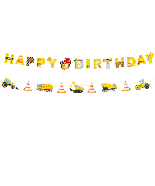 Happy Birthday Letter Bunting (2 x 3meter) - Heavy Construction Equipment Themed