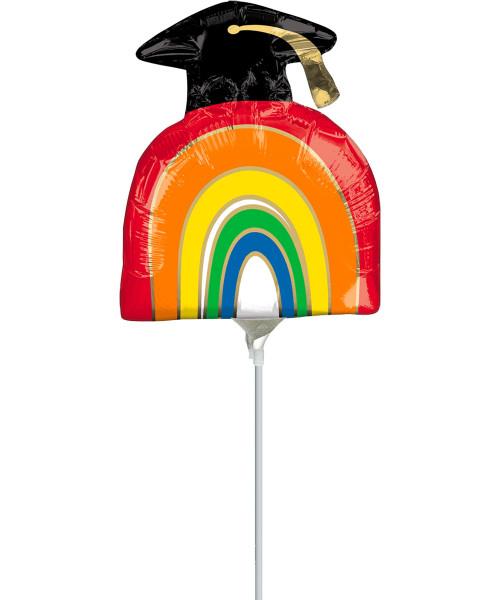 [Graduation] Grad Rainbow Foil Balloon with Stick (9inch) (A40944)