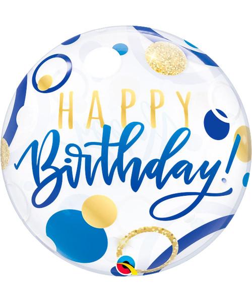 "[Ultra Clear Bubble] 22""/56cm Birthday Blue & Gold Dots Balloon (Q87748)"