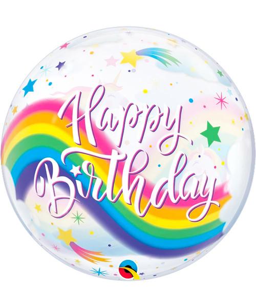 "[Ultra Clear Bubble] 22""/56cm Birthday Rainbow Unicorns Balloon (Q87744)"