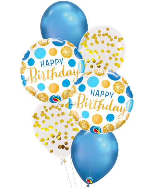 [Party] Birthday Blue & Gold Dots Confetti Balloons Bouquet