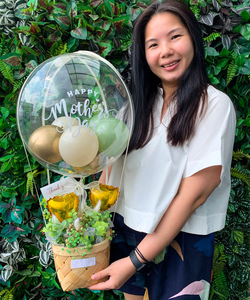 [You're Amazing] Happy Mother's Day Balloons Bouquet Basket (In-The-Air Series) - Botanic