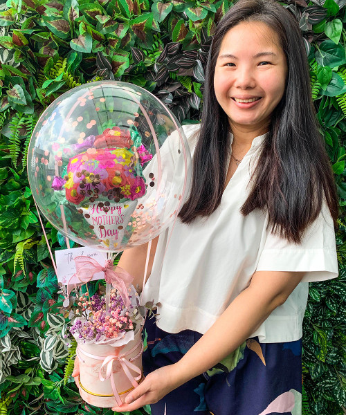 [You're Amazing] Lovely Floral Bouquet Balloons Bouquet Box (In-The-Air Series)