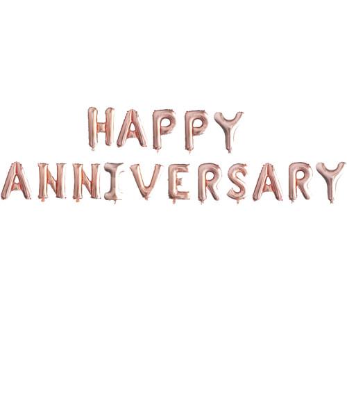 "16"" Happy Anniversary Alphabet Foil Balloons Banner - Rose Gold"